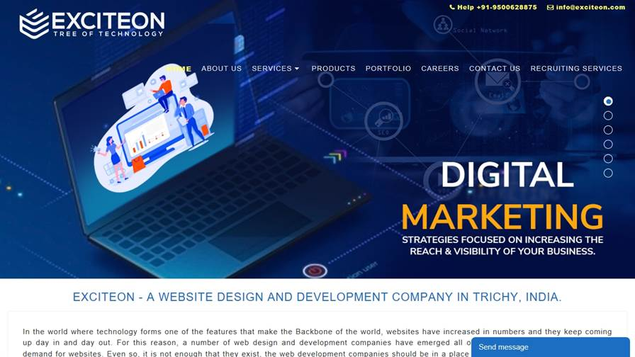 Exciteon, Web Design Trichy, SEO, Graphic Design, Software, Mobile App, Digital Marketing Company in Trichy