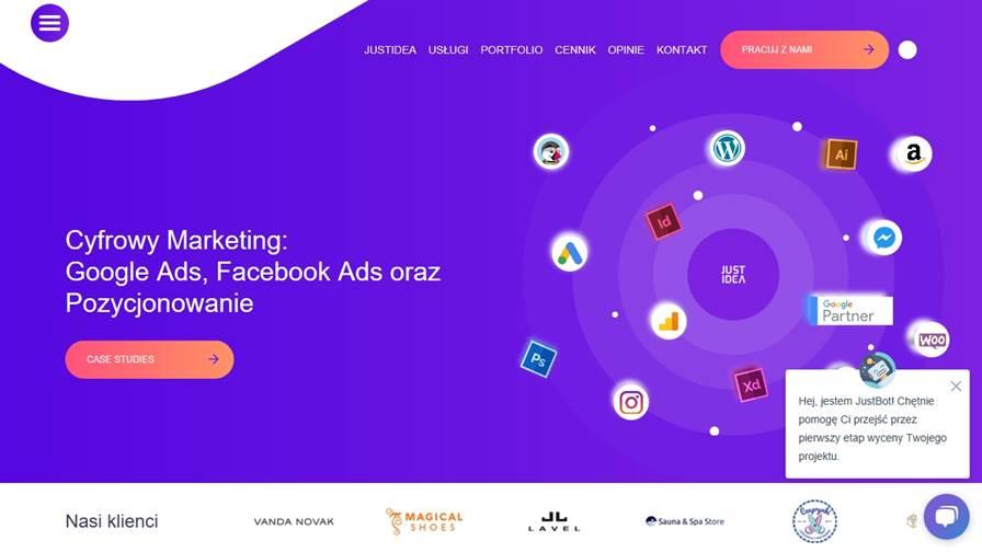 Agencja Interaktywna Kraków - JustIdea | Strony Internetowe - WordPress | Sklepy Internetowe - PrestaShop | Agencja Marketingowa - Facebook Ads & Google Ads | Agencja Reklamowa - SEM / SEO (Pozycjonowanie)