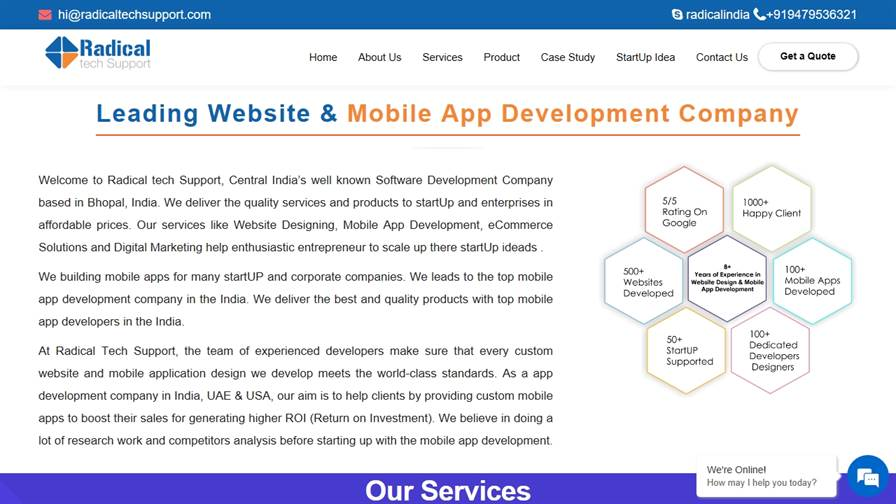 Mobile App Development & Website Designing Company in Bhopal : Radical tech Support